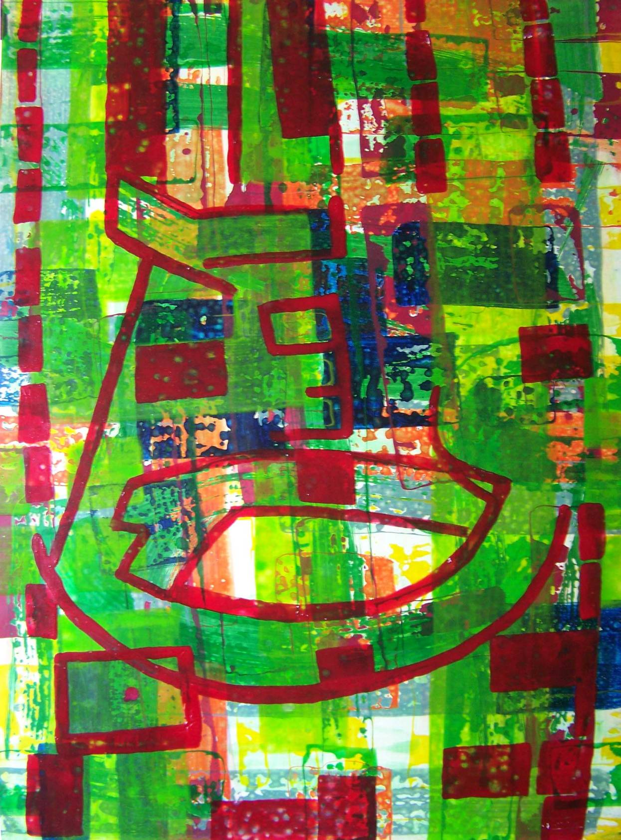Bib Green Pattern, 70 x 100, 2003, Acryl a. Canvas_1